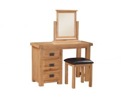 Somerset Oak Vanity Table With Stool + Mirror-0