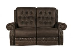 Asbourne Buffalo Leather Brown 2 Seater Recliner Sofa-0