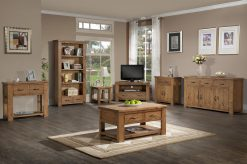 Henley Solid Pine Small Wide Bookcase-2956