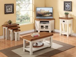 Heritage Solid White Corner TV Unit-2516