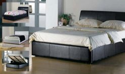 Corsica Black Leather Small Double Ottoman Bed Frame-0