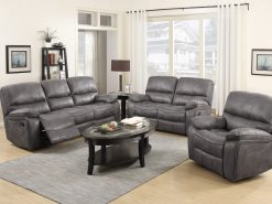 Carlton Grey Leather 3 Seater Fabric