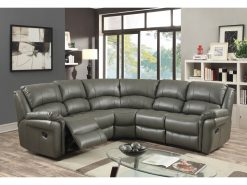 Farnham Leather Corner Suite Grey