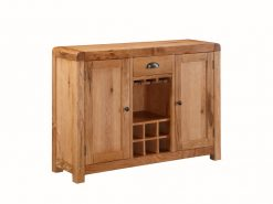 Oakridge 2 Door Solid Oak Sideboard With Wine Rack
