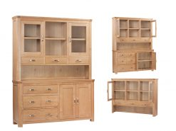 Treviso Solid Oak Large Buffet Hutch