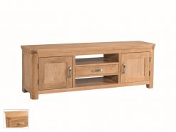 Treviso Solid Oak Wide Tv Unit