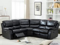 Annaghmore Swindon Brown Leather Recliner Corner Suite Black