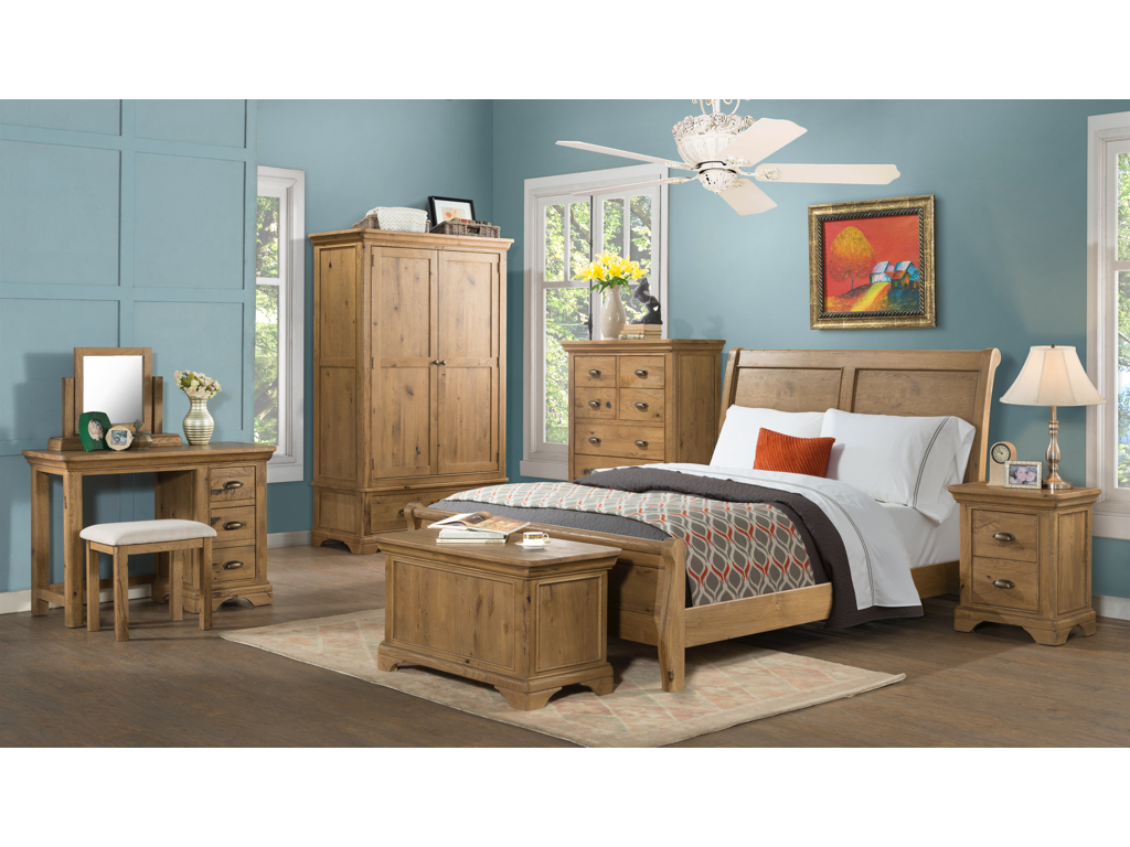 - Lyon Solid Oak Double Sleigh Bed The Really Solid Furniture Company