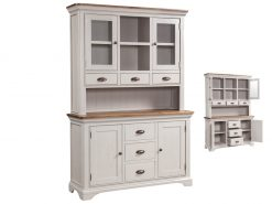Annaghmore Lyon Stone Painted Oak 3 Door Buffet Hutch