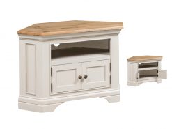 Annaghmore Lyon Stone Painted Oak Corner Tv Unit