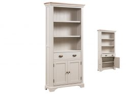 Annaghmore Lyon Stone Painted Oak Large Bookcase