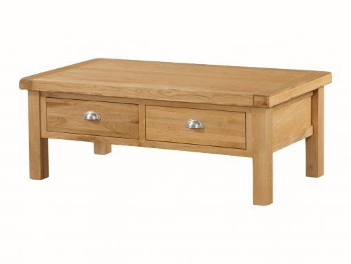 The Newbridge Solid Oak Large Coffee Table is crafted from solid oak.solid wood with selected veneers all finished off in a striking rich natural oak colour.