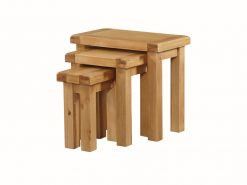 The Newbridge Nest of 3 Tables are crafted from solid oak.solid wood with selected veneers all finished off in a striking rich natural oak colour
