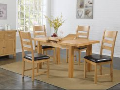 Newbridge Light Oak 5ft Extending Butterfly Large Dining Set