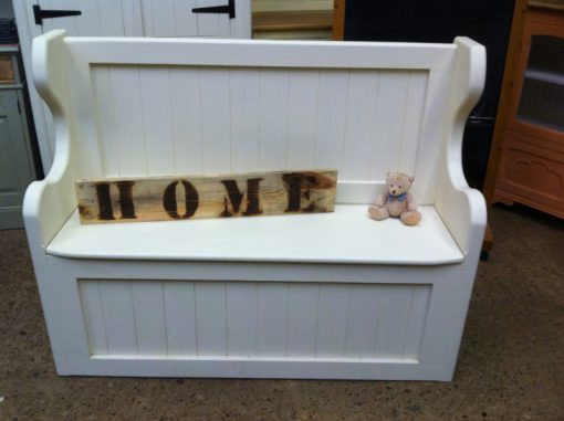 Barcelona Farrow and Ball Painted White Solid Pine Monks Bench