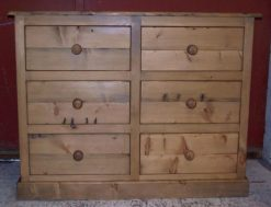Napoli Solid Pine Rustic 6 Drawer Chest Of Drawers