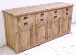 Madrid Solid Reclaimed Rustic Pine 4 Door Sideboard