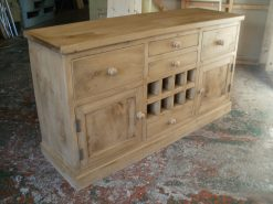 Napoli Antique Style Solid Old Reclaimed Pine Sideboard With Wine Rack