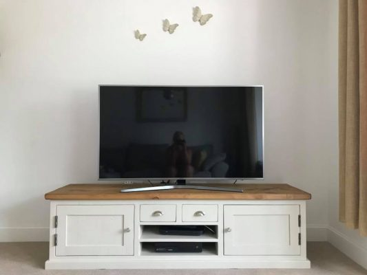 The Really Solid Furniture Company - Solid White Farrow & Ball Painted TV Unit